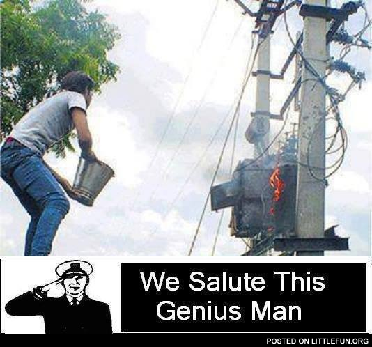 Water plus electricity. We salute this genius man.