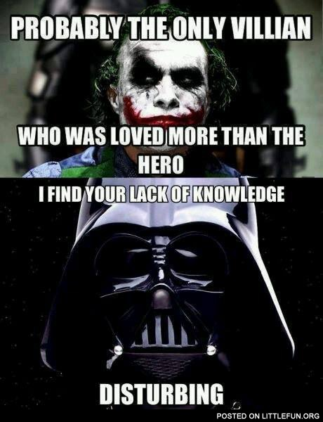Joker and Darth Vader - the most loved villians