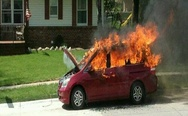 Burning car. I got 99 problems but a spider ain't one.