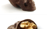Chocolate skulls with walnuts