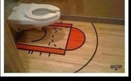 A man's bathroom, because women can't shoot three pointers