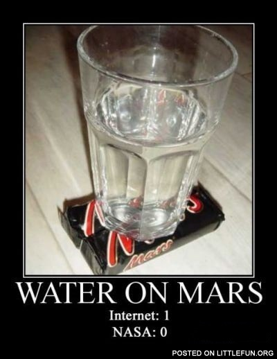 Water on Mars. Internet:1, Nasa: 0.