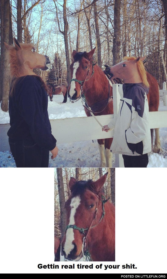 People in horse masks. Getting real tired of your sh*t