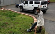 Just vacuuming my lawn