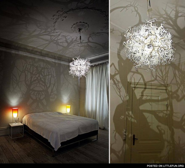 A chandelier that turns your bedroom into a forest scene