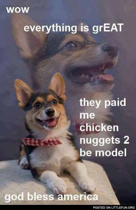 They paid me chicken nuggets to be model, God bless America