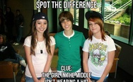 The girl in the middle isn't wearing a hat. Justin Bieber.