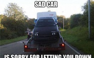 Sad car is sorry for letting you down
