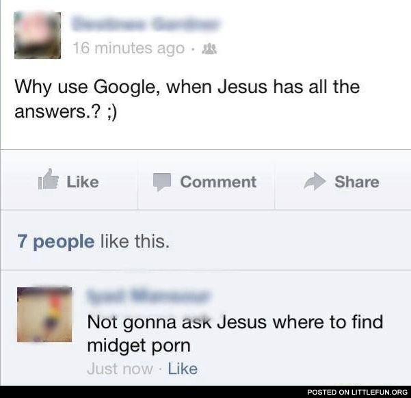 Why use Google, when Jesus has all the answers?