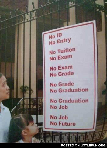 No ID, no entry. No graduation, no job. No job, no future.