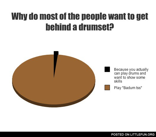 Why do most of the people want to get behind a drumset? Play badum tss.