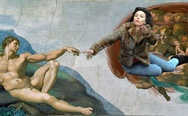Sistine Chapel Creation of Adam with Scarlett Johansson