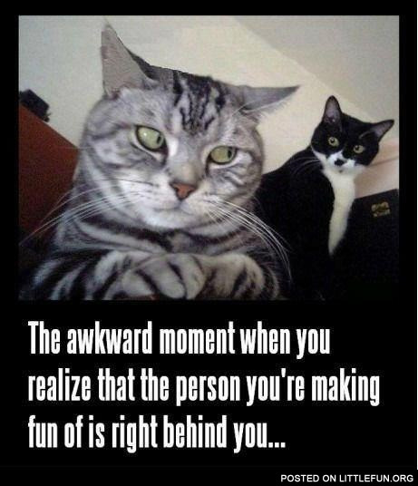 That awkward moment when you realize that the person you are making fun of is right behind you