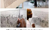 Stephen Wiltshire and New York City skyline