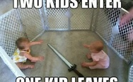 Two kids enter, one kid leaves