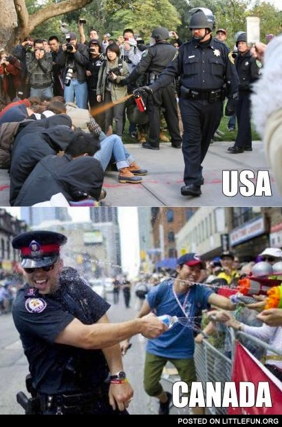 USA vs. Canada. Cops.