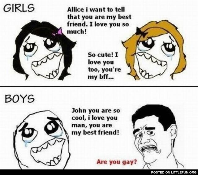 Girls and boys and their friends