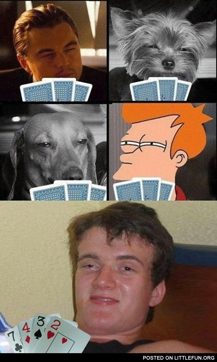 Stoner Stanley playing poker with Leonardo DiCaprio and stoned dogs