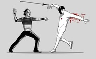 Mime and epee fencer