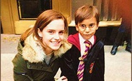 Emma Watson and 5 year old boy in Harry Potter costume