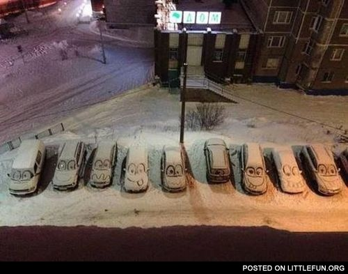 Smiling cars in winter