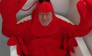 Patrick Stewart in a lobster costume