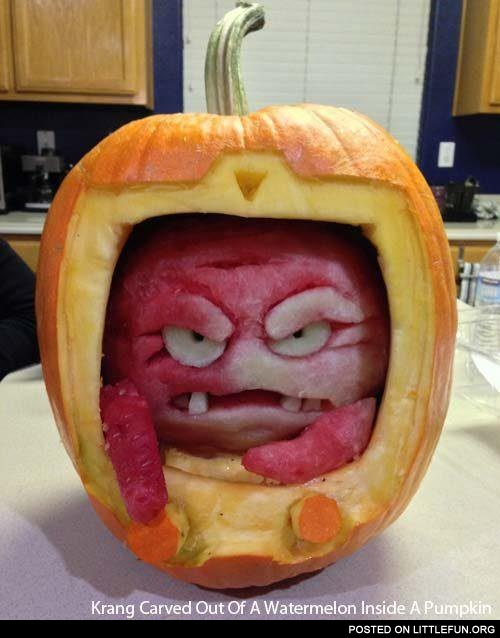 Krang in a pumpkin