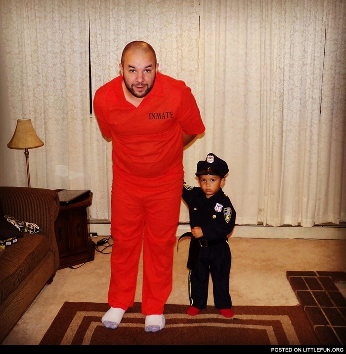Inmate and policeman costumes