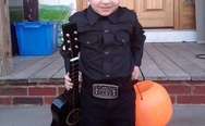 Kid dressed as Johnny Cash for Halloween