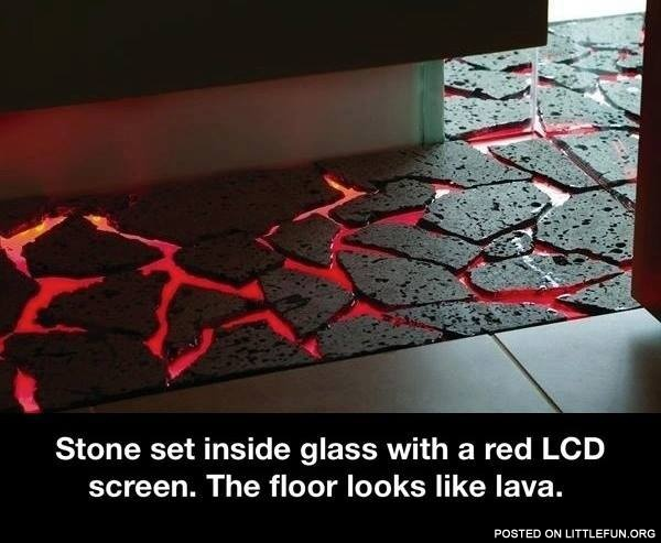 Red LCD lava floor