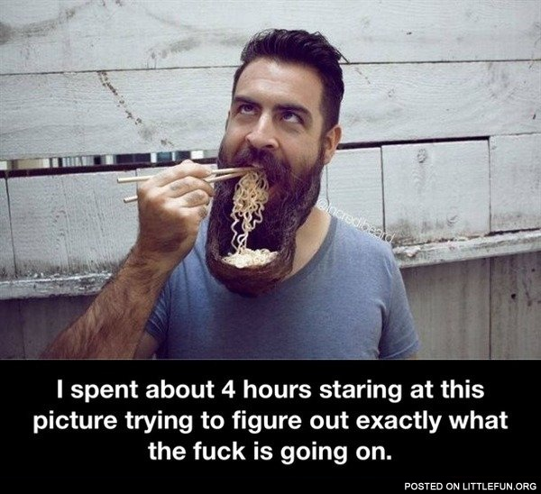 Eating noodles out of beard