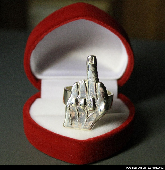 Middle finger wedding ring