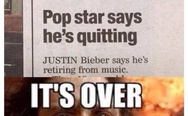 Justin Bieber says he's quitting music