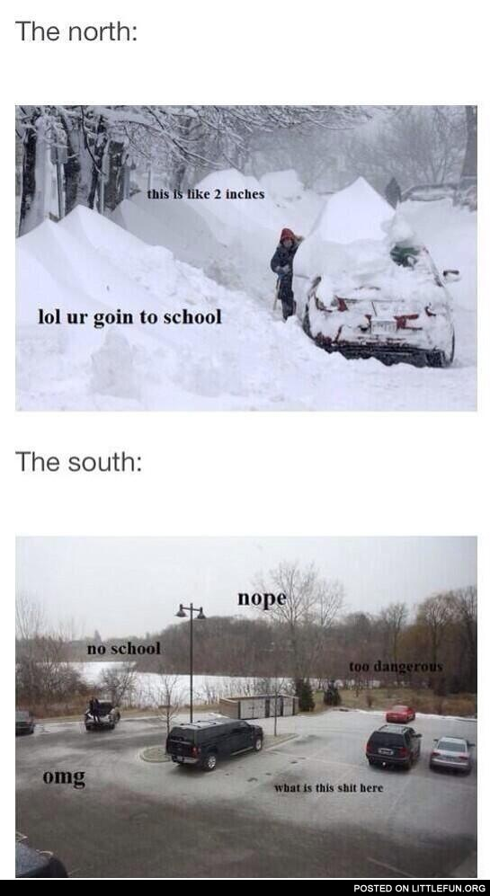 North vs. South in winter