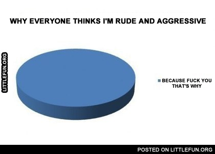 Why everyone thinks I'm rude and aggressive. Because f**k you, that's why.