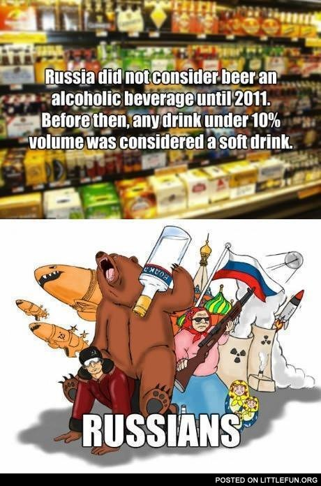 Russia did not consider beer as an alcoholic beverage until 2011