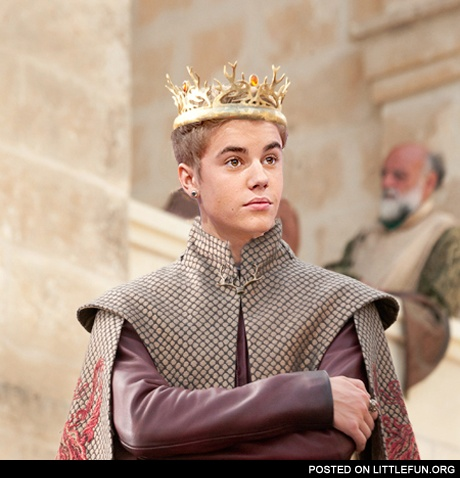 Two most hated persons in one photo. Justin Bieber as King Joffrey.