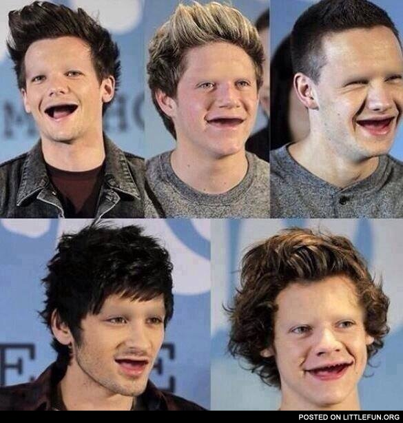 One Direction without teeth and eyebrows.
