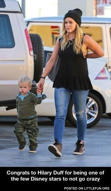 Congrats to Hilary Duff for being one of the few Disney stars to not go crazy.