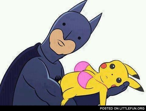 Batman and Pikachu. Well, that's awkward.