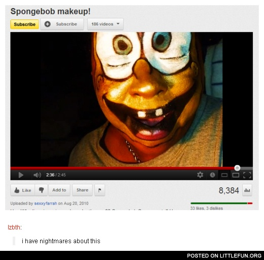 Spongebob makeup. I have nightmares about this.