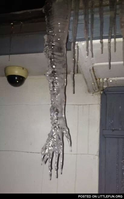 Hand shaped icicle.