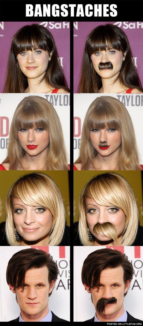 Bangstaches. Celebs with mustaches.
