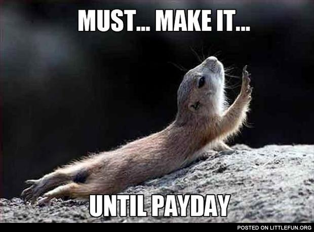 Must make it until payday.