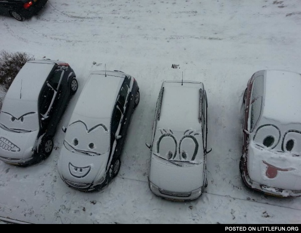 Faces on cars in snow.