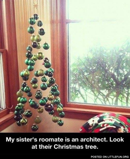 My sister's roomate is an architect. Look at their Christmas tree.