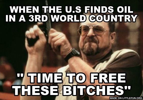 Am I The Only One Around Here: When the u.s finds oil in a 3rd world country, '' time to free these b*tches''